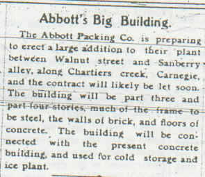 Abbott Packing Plant Expansion newspaper article