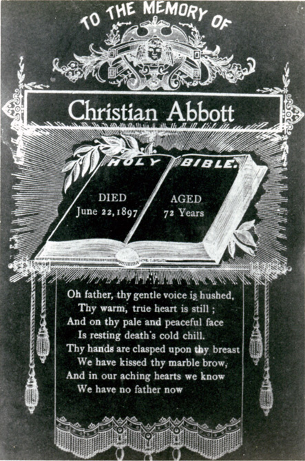 Christian Abbott Funeral Memorial Card