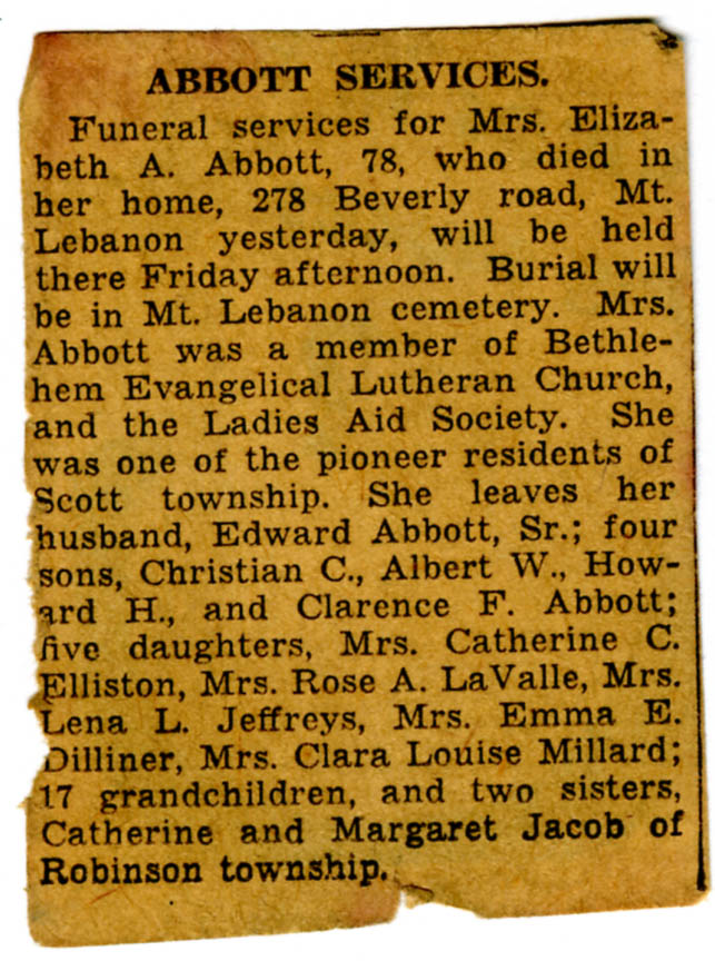 Elizabeth Jacob Abbott Obituary