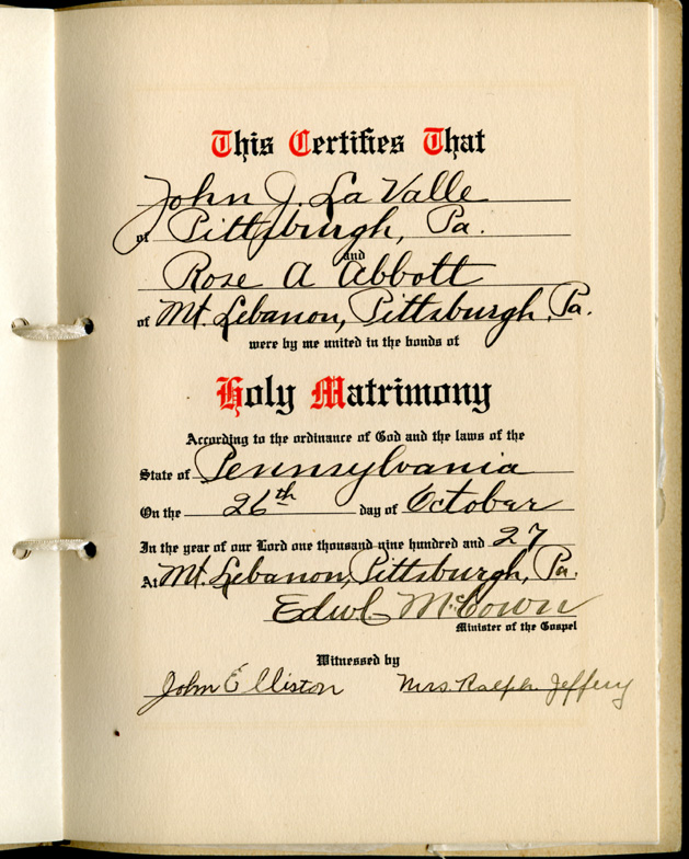 Rose Abbott and John LaValle Marriage Book