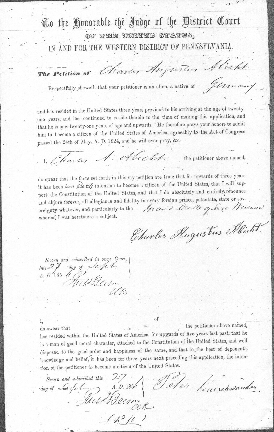Charles Abbott Declaration of Intent