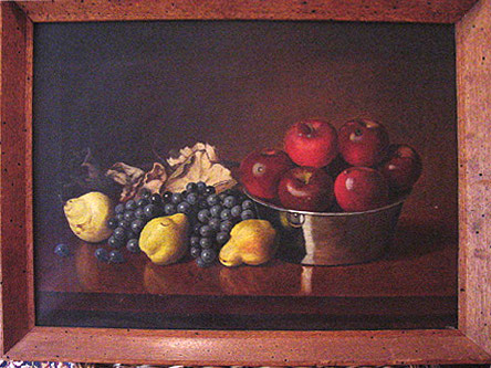Stillife oil painting of apples, grapes, and pears