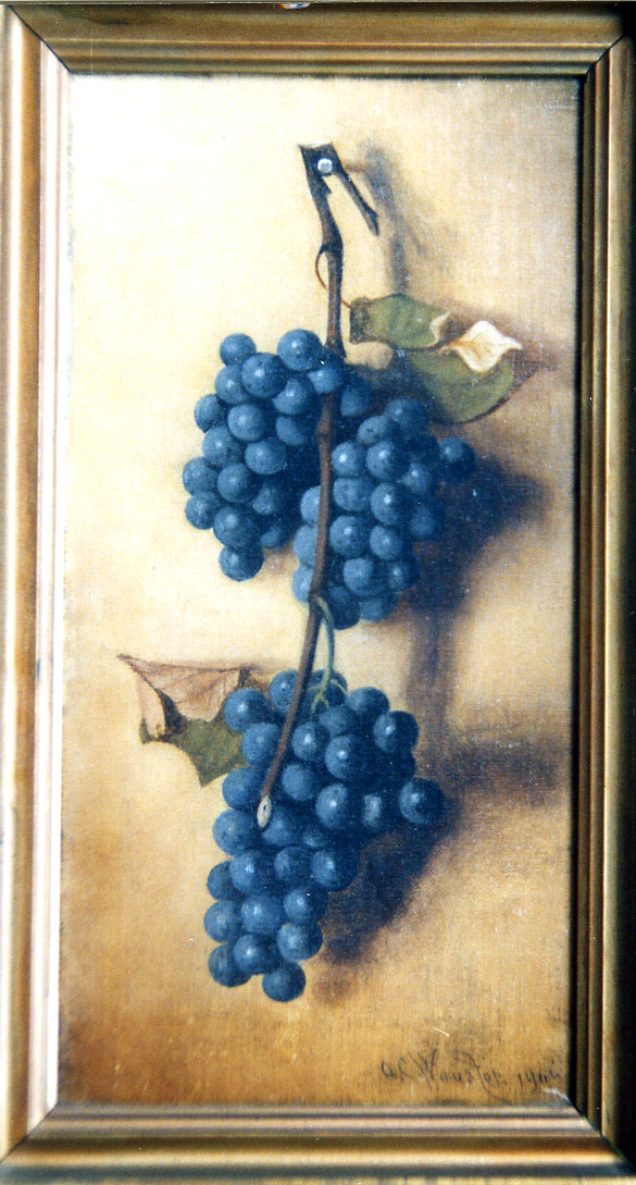 Stillife oil painting of blue grapes on a nail