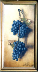 Oil Painting of blue grapes on a nail