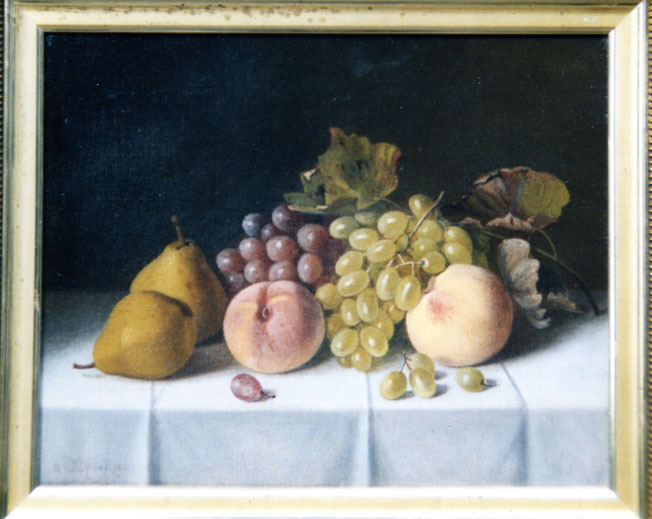 Stillife oil painting of grapes, peaches and pears