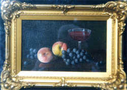 Oil Painting of grapes, peaches, and wine
