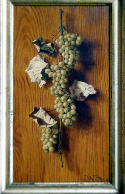 Stillife oil painting of green grapes