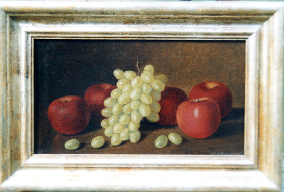 Stillife oil painting of green grapes and apples