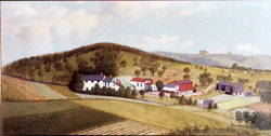 Oil Painting of Haudenshield vineyard, Green Tree, PA, 1909