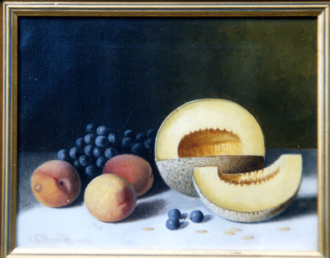 Stillife oil painting of melon, peaches, and grapes