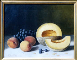 Oil Painting of apples and green grapes