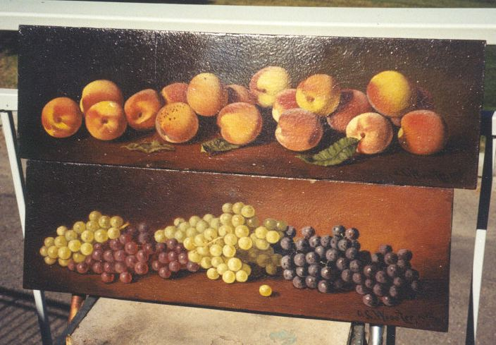 Two stillife oil paintings on wood, one of peaches, one of grapes