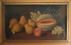 Oil Painting of pears and cantalope