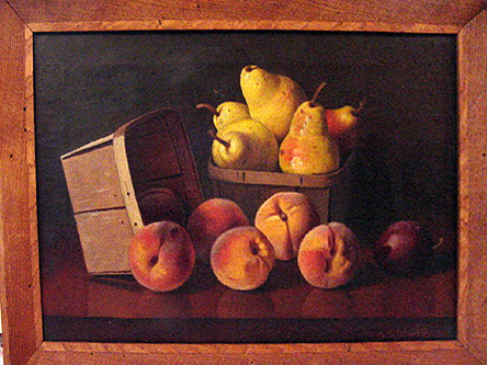 Stillife oil painting of pears and peaches