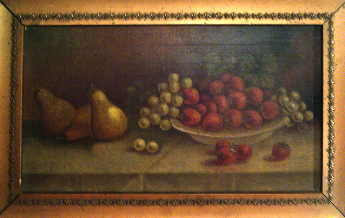 Stillife oil painting of pears and cantalope
