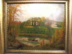 Oil Painting of Wettengel House, West End, Pittsburgh